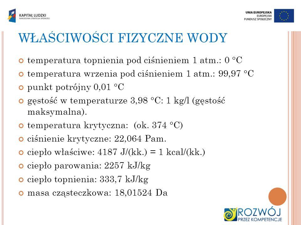 WŁAŚCIWOŚCI FIZYCZNE WODY temperatura topnienia pod ciśnieniem 1 atm.: 0 °C temperatura wrzenia pod ciśnieniem 1 atm.: 99,97 °C punkt potrójny 0,01 °C