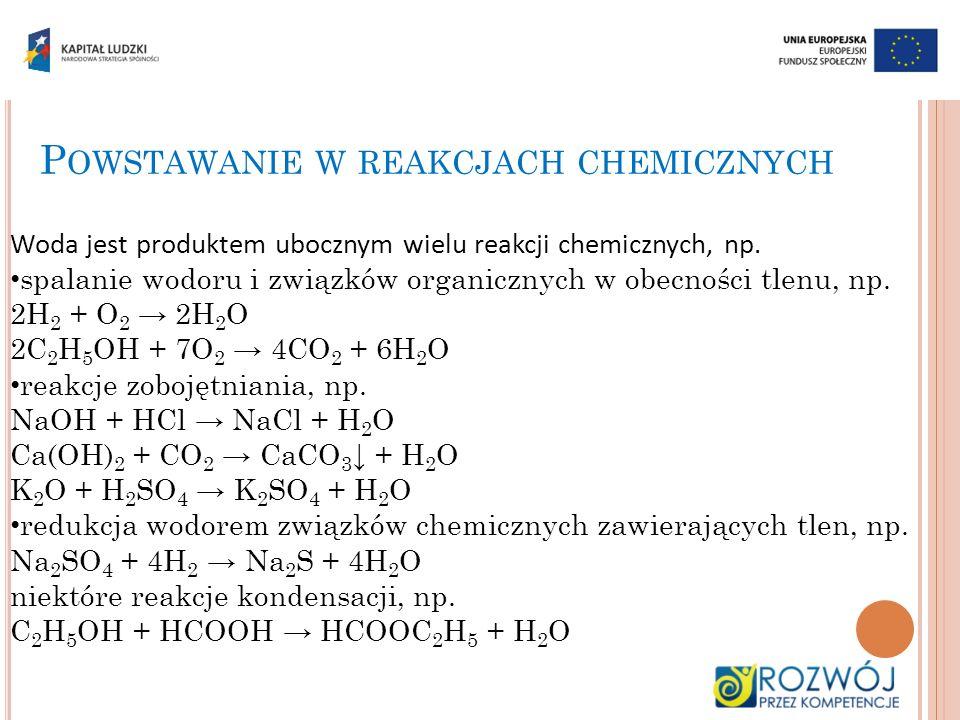 P OWSTAWANIE W REAKCJACH CHEMICZNYCH Woda jest produktem ubocznym wielu reakcji chemicznych, np. spalanie wodoru i związków organicznych w obecności t