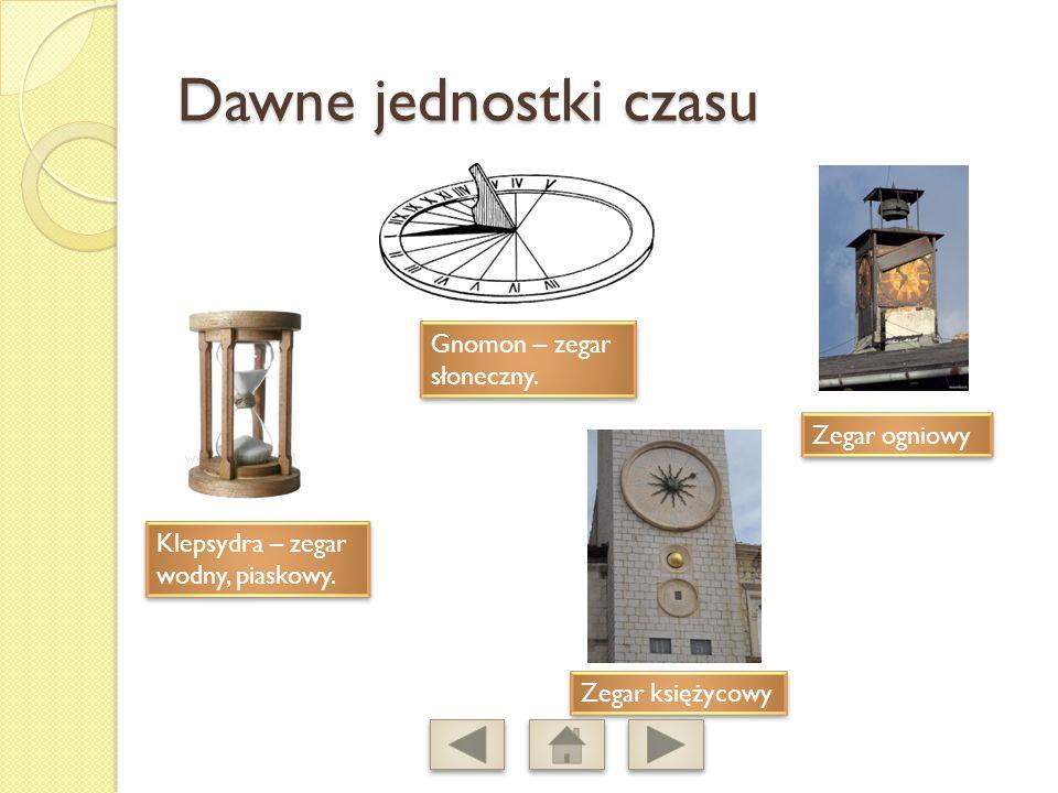 Dawne jednostki czasu Klepsydra – zegar wodny, piaskowy.