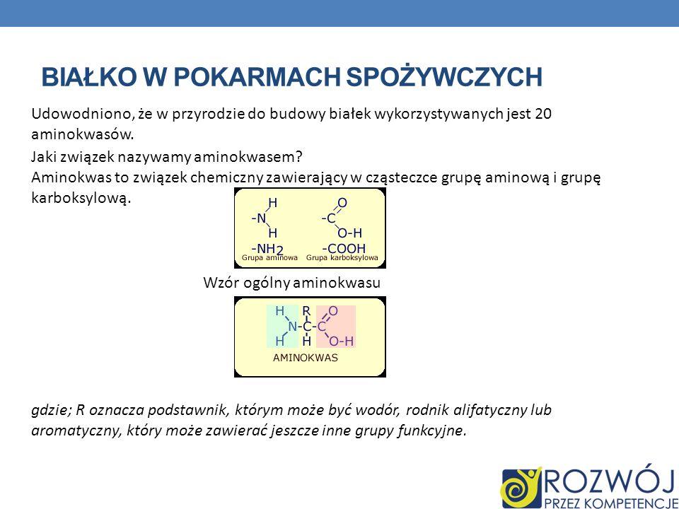 BIAŁKO W POKARMACH SPOŻYWCZYCH Udowodniono, że w przyrodzie do budowy białek wykorzystywanych jest 20 aminokwasów. Jaki związek nazywamy aminokwasem?