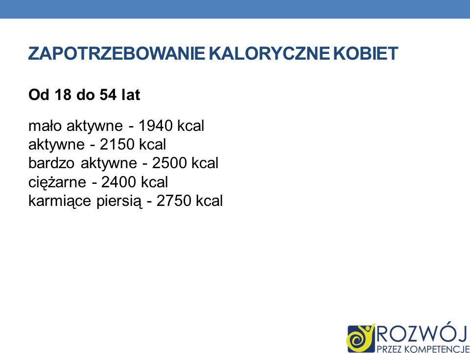 ZAPOTRZEBOWANIE KALORYCZNE KOBIET Od 18 do 54 lat mało aktywne - 1940 kcal aktywne - 2150 kcal bardzo aktywne - 2500 kcal ciężarne - 2400 kcal karmiąc