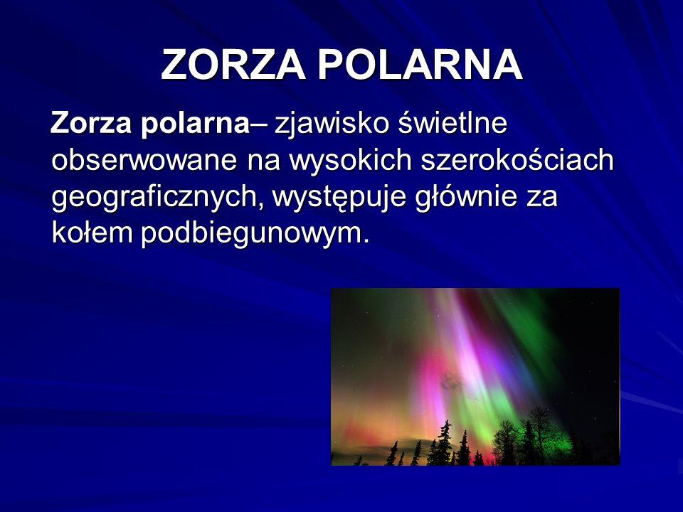 ZORZA POLARNA Zorza polarna– zjawisko świetlne obserwowane na wysokich szerokościach geograficznych, występuje głównie za kołem podbiegunowym. Zorza p