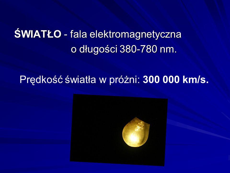 ŚWIATŁO - fala elektromagnetyczna o długości 380-780 nm. o długości 380-780 nm. Prędkość światła w próżni: 300 000 km/s.