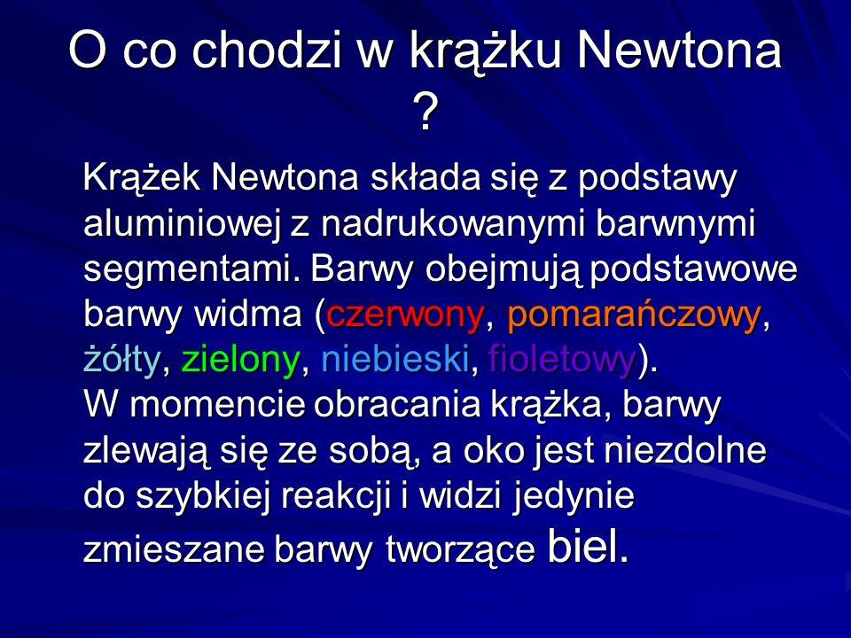 O co chodzi w krążku Newtona ? Krążek Newtona składa się z podstawy aluminiowej z nadrukowanymi barwnymi segmentami. Barwy obejmują podstawowe barwy w