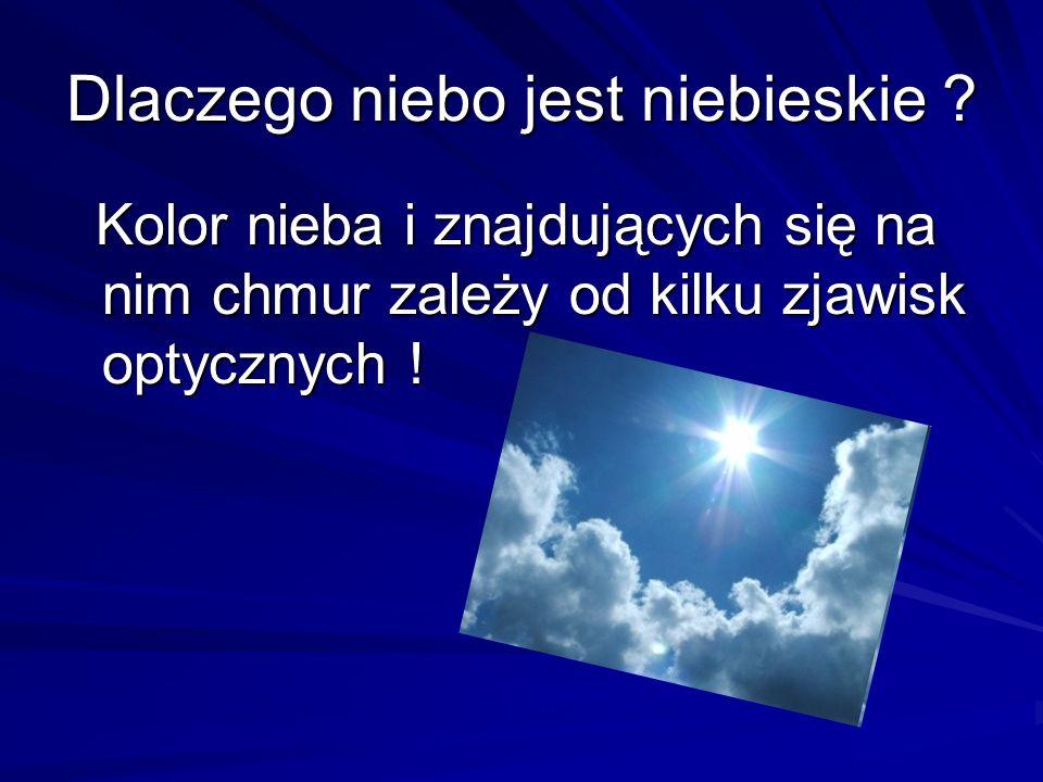 Dlaczego niebo jest niebieskie ? Kolor nieba i znajdujących się na nim chmur zależy od kilku zjawisk optycznych ! Kolor nieba i znajdujących się na ni