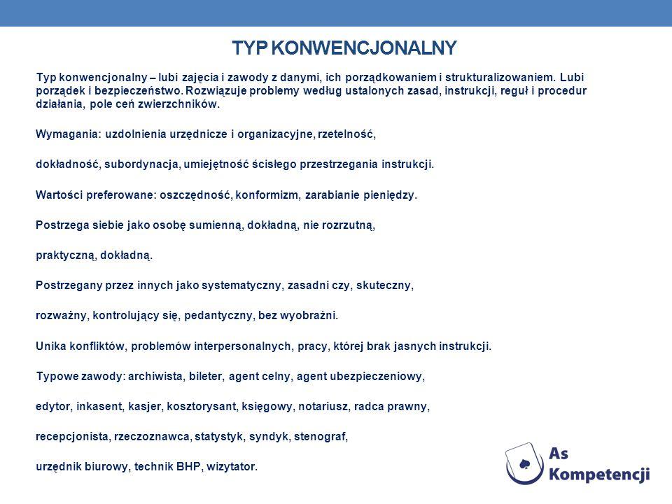 TYP KONWENCJONALNY Typ konwencjonalny – lubi zajęcia i zawody z danymi, ich porządkowaniem i strukturalizowaniem. Lubi porządek i bezpieczeństwo. Rozw