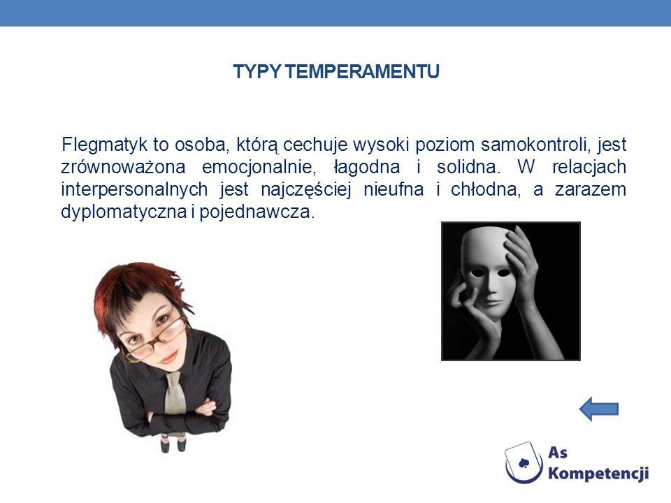 TYPY TEMPERAMENTU Flegmatyk to osoba, którą cechuje wysoki poziom samokontroli, jest zrównoważona emocjonalnie, łagodna i solidna. W relacjach interpe