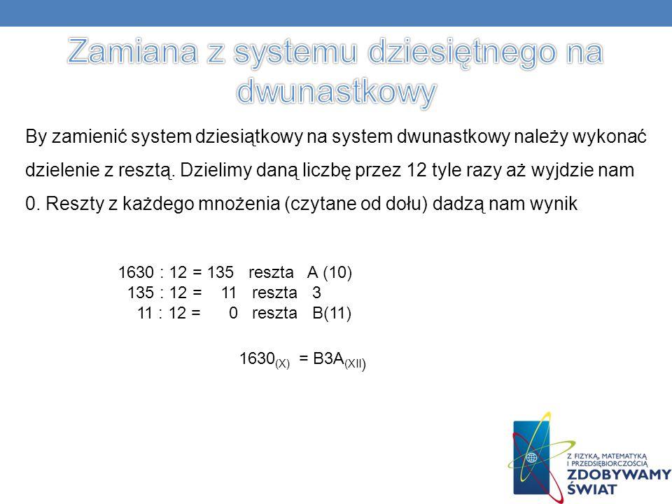 By zamienić system dziesiątkowy na system dwunastkowy należy wykonać dzielenie z resztą.