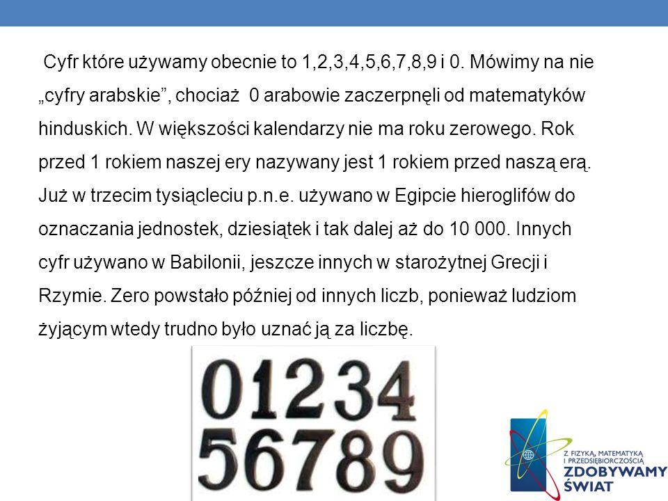 Cyfr które używamy obecnie to 1,2,3,4,5,6,7,8,9 i 0.