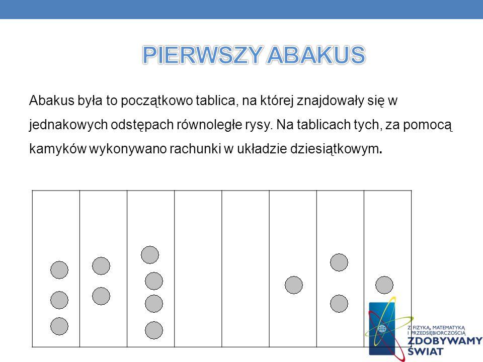 Abakus była to początkowo tablica, na której znajdowały się w jednakowych odstępach równoległe rysy.