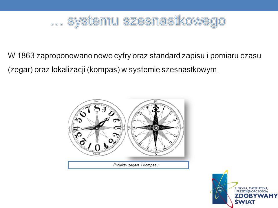 W 1863 zaproponowano nowe cyfry oraz standard zapisu i pomiaru czasu (zegar) oraz lokalizacji (kompas) w systemie szesnastkowym.