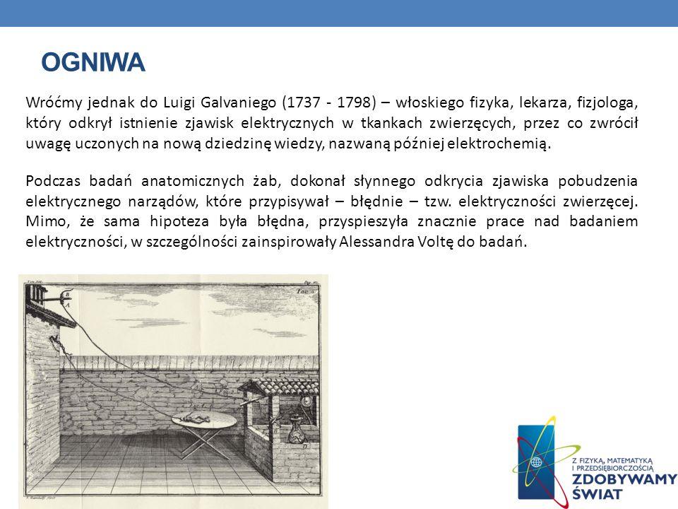 OGNIWA Wróćmy jednak do Luigi Galvaniego (1737 - 1798) – włoskiego fizyka, lekarza, fizjologa, który odkrył istnienie zjawisk elektrycznych w tkankach