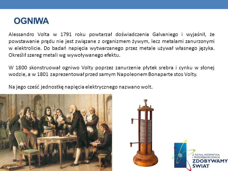 OGNIWA Alessandro Volta w 1791 roku powtarzał doświadczenia Galvaniego i wyjaśnił, że powstawanie prądu nie jest związane z organizmem żywym, lecz met