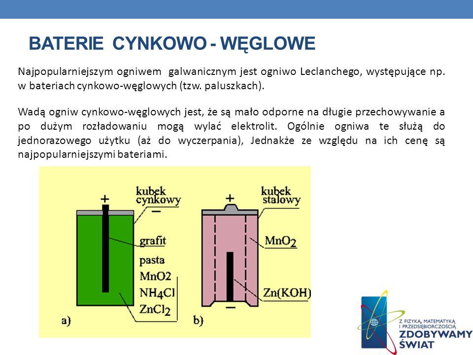 BATERIE CYNKOWO - WĘGLOWE Najpopularniejszym ogniwem galwanicznym jest ogniwo Leclanchego, występujące np. w bateriach cynkowo-węglowych (tzw. paluszk