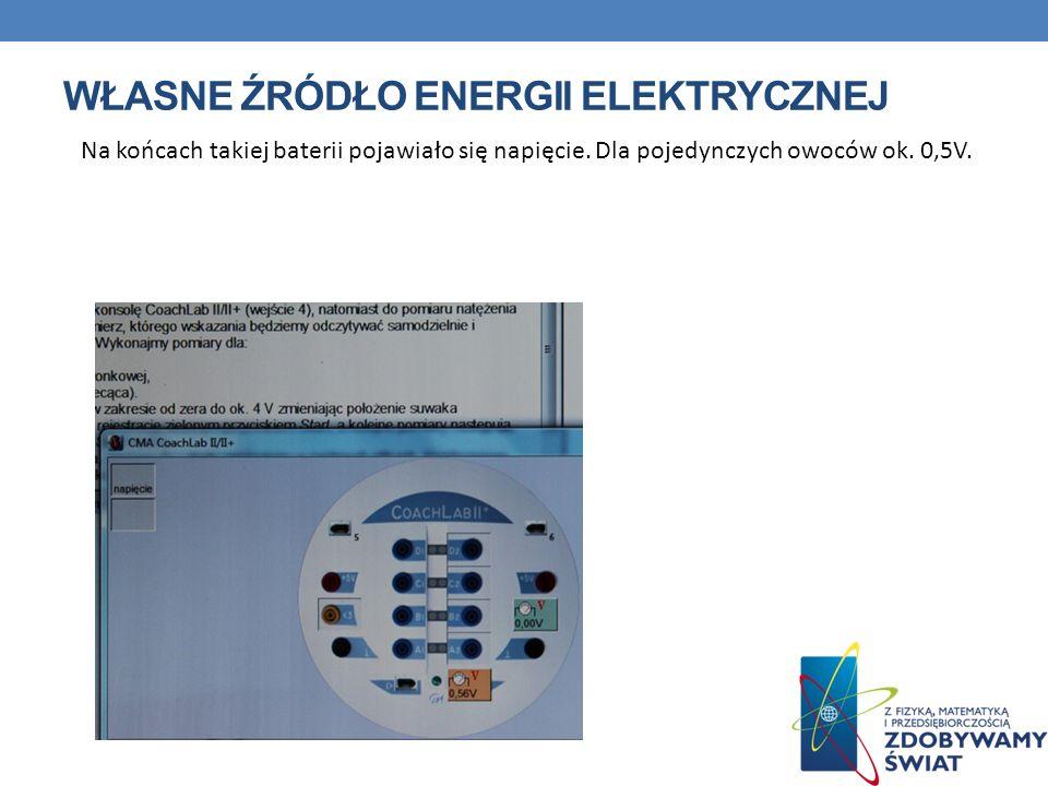 WŁASNE ŹRÓDŁO ENERGII ELEKTRYCZNEJ Na końcach takiej baterii pojawiało się napięcie. Dla pojedynczych owoców ok. 0,5V.