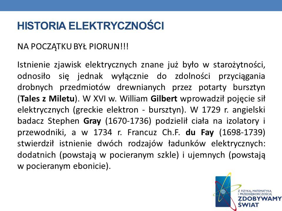 HISTORIA ELEKTRYCZNOŚCI NA POCZĄTKU BYŁ PIORUN!!! Istnienie zjawisk elektrycznych znane już było w starożytności, odnosiło się jednak wyłącznie do zdo