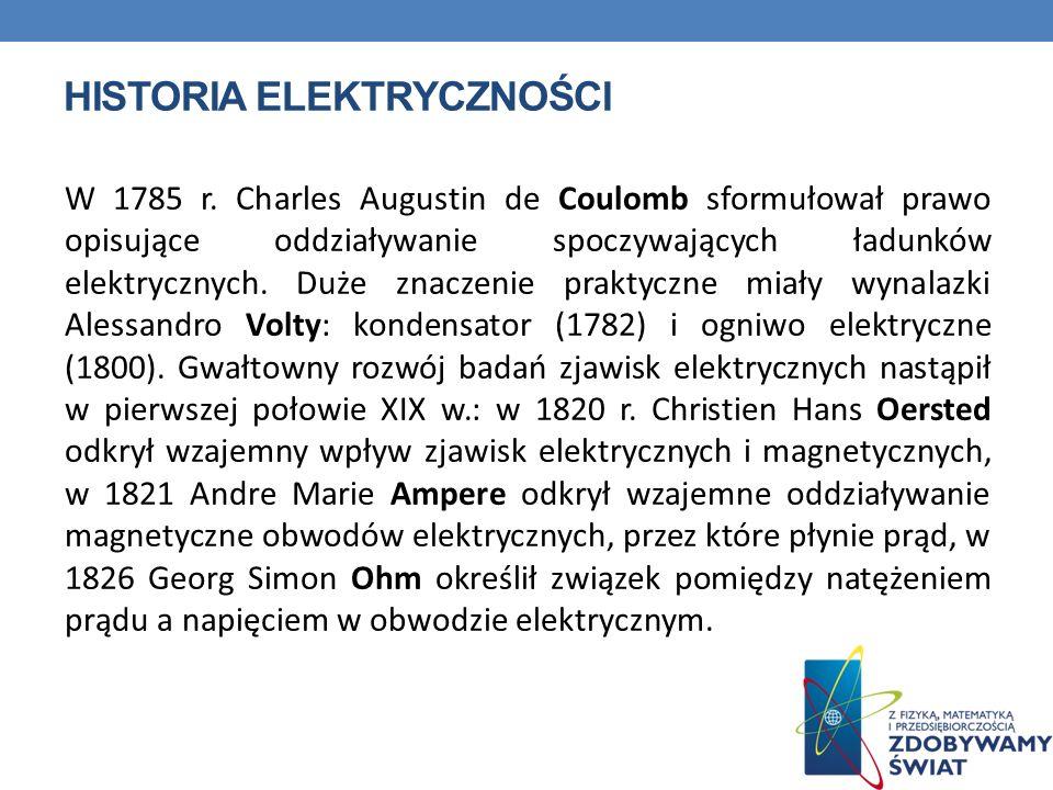 HISTORIA ELEKTRYCZNOŚCI W 1785 r. Charles Augustin de Coulomb sformułował prawo opisujące oddziaływanie spoczywających ładunków elektrycznych. Duże zn
