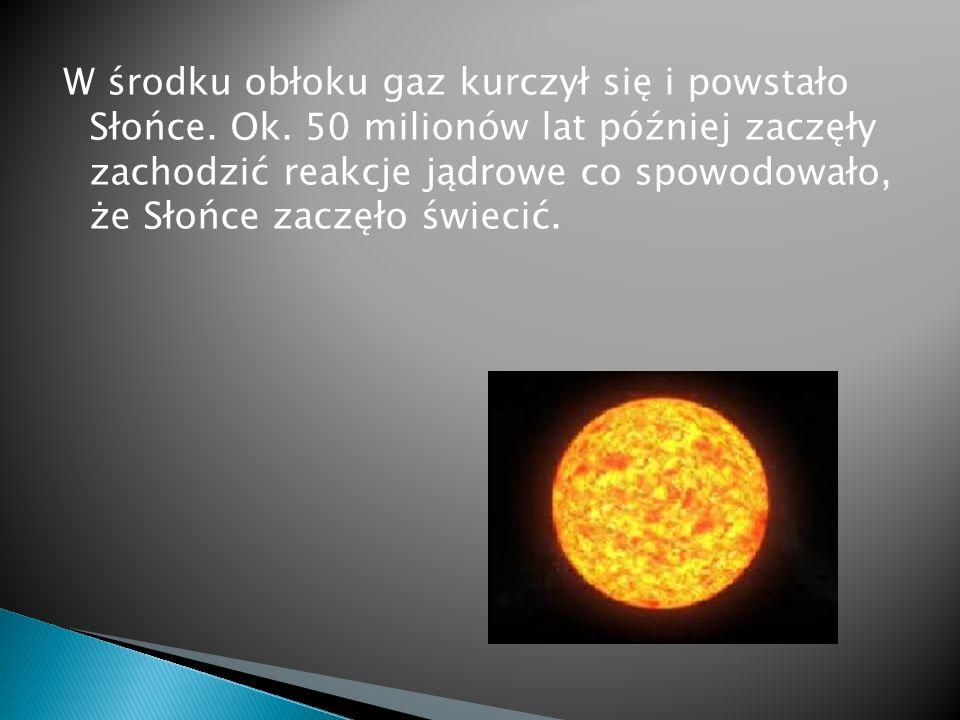 W środku obłoku gaz kurczył się i powstało Słońce.