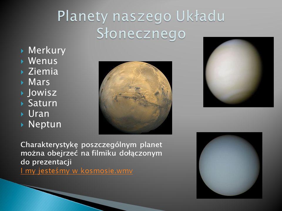 Merkury Wenus Ziemia Mars Jowisz Saturn Uran Neptun Charakterystykę poszczególnym planet można obejrzeć na filmiku dołączonym do prezentacji I my jesteśmy w kosmosie.wmv