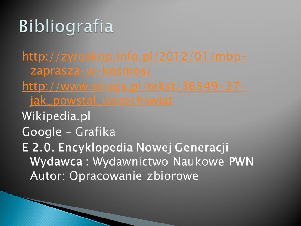 http://zyroskop.info.pl/2012/01/mbp- zaprasza-w-kosmos/ http://www.sciaga.pl/tekst/36549-37- jak_powstal_wszechswiat Wikipedia.pl Google – Grafika E 2.0.