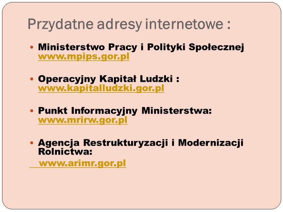 Przydatne adresy internetowe : Ministerstwo Pracy i Polityki Społecznej www.mpips.gor.pl www.mpips.gor.pl Operacyjny Kapitał Ludzki : www.kapitalludzk