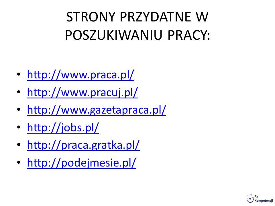 STRONY PRZYDATNE W POSZUKIWANIU PRACY: http://www.praca.pl/ http://www.pracuj.pl/ http://www.gazetapraca.pl/ http://jobs.pl/ http://praca.gratka.pl/ h
