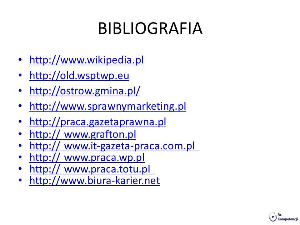 BIBLIOGRAFIA http://www.wikipedia.pl http://old.wsptwp.eu http://ostrow.gmina.pl/ http://www.sprawnymarketing.pl http://praca.gazetaprawna.pl http://
