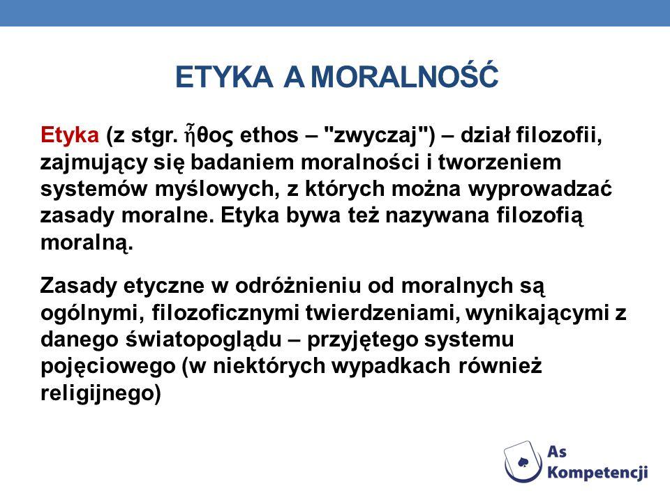 ETYKA A MORALNOŚĆ Etyka (z stgr. θος ethos –