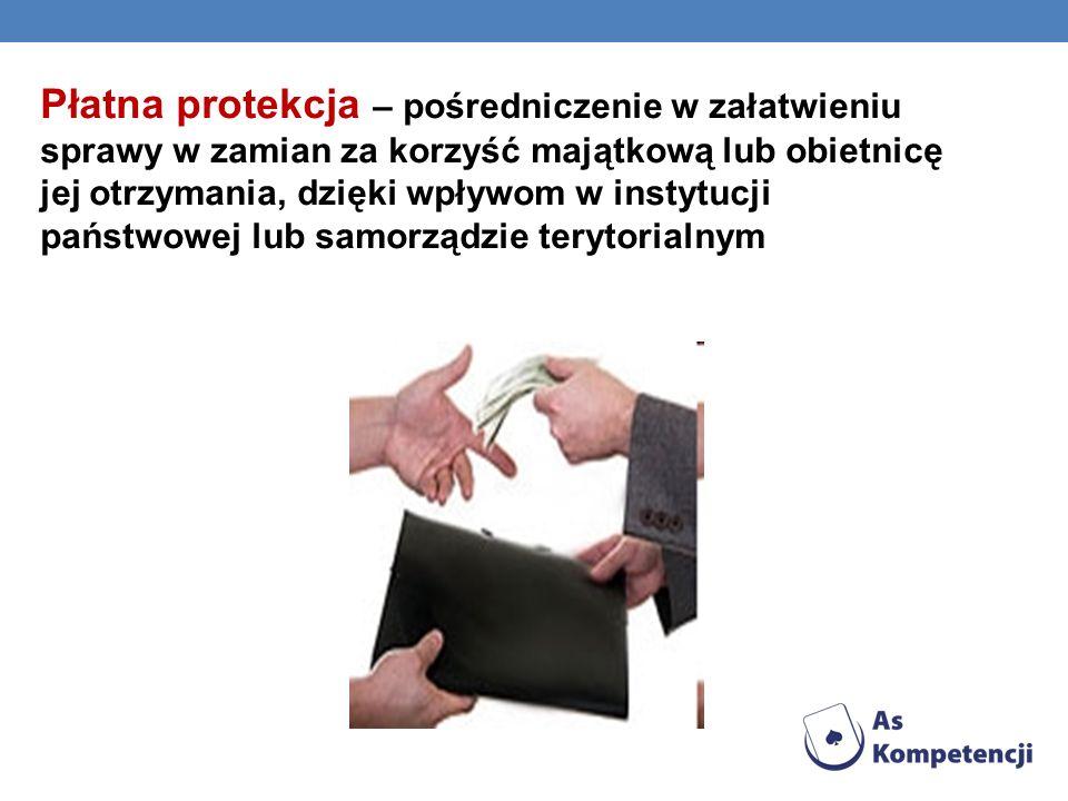 Płatna protekcja – pośredniczenie w załatwieniu sprawy w zamian za korzyść majątkową lub obietnicę jej otrzymania, dzięki wpływom w instytucji państwo