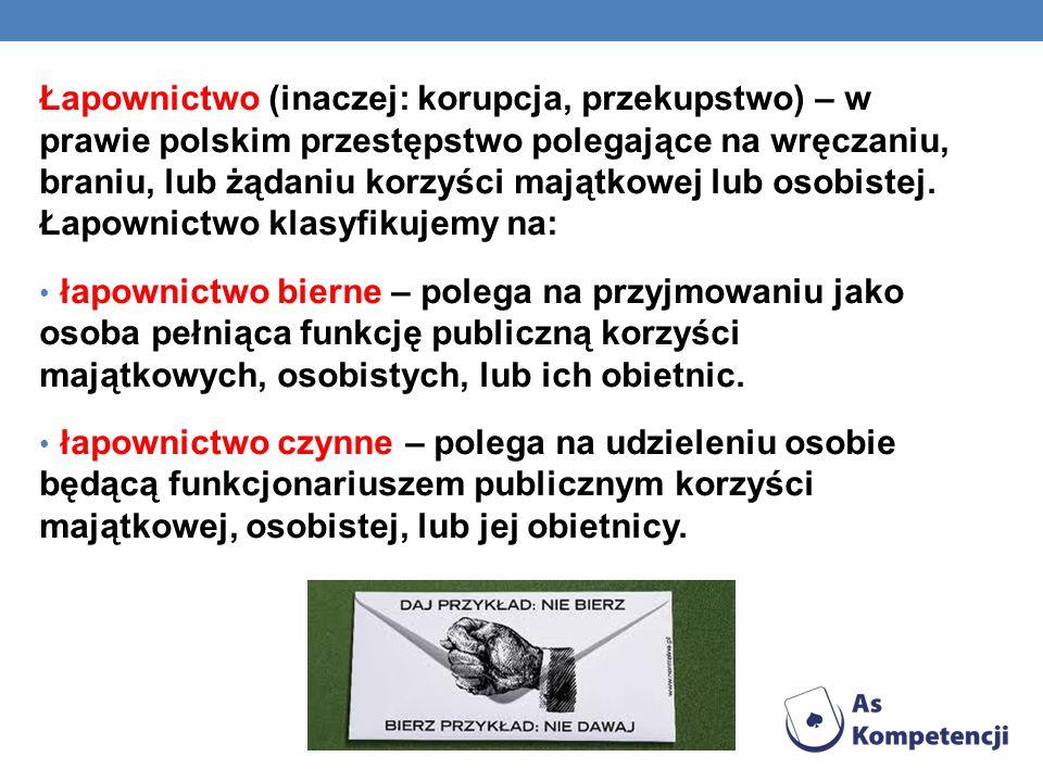 Łapownictwo (inaczej: korupcja, przekupstwo) – w prawie polskim przestępstwo polegające na wręczaniu, braniu, lub żądaniu korzyści majątkowej lub osob