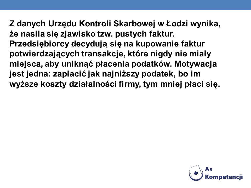 Z danych Urzędu Kontroli Skarbowej w Łodzi wynika, że nasila się zjawisko tzw. pustych faktur. Przedsiębiorcy decydują się na kupowanie faktur potwier