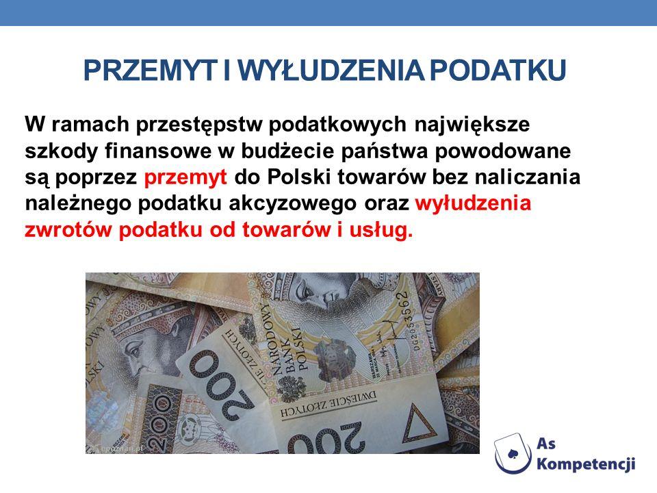 PRZEMYT I WYŁUDZENIA PODATKU W ramach przestępstw podatkowych największe szkody finansowe w budżecie państwa powodowane są poprzez przemyt do Polski t