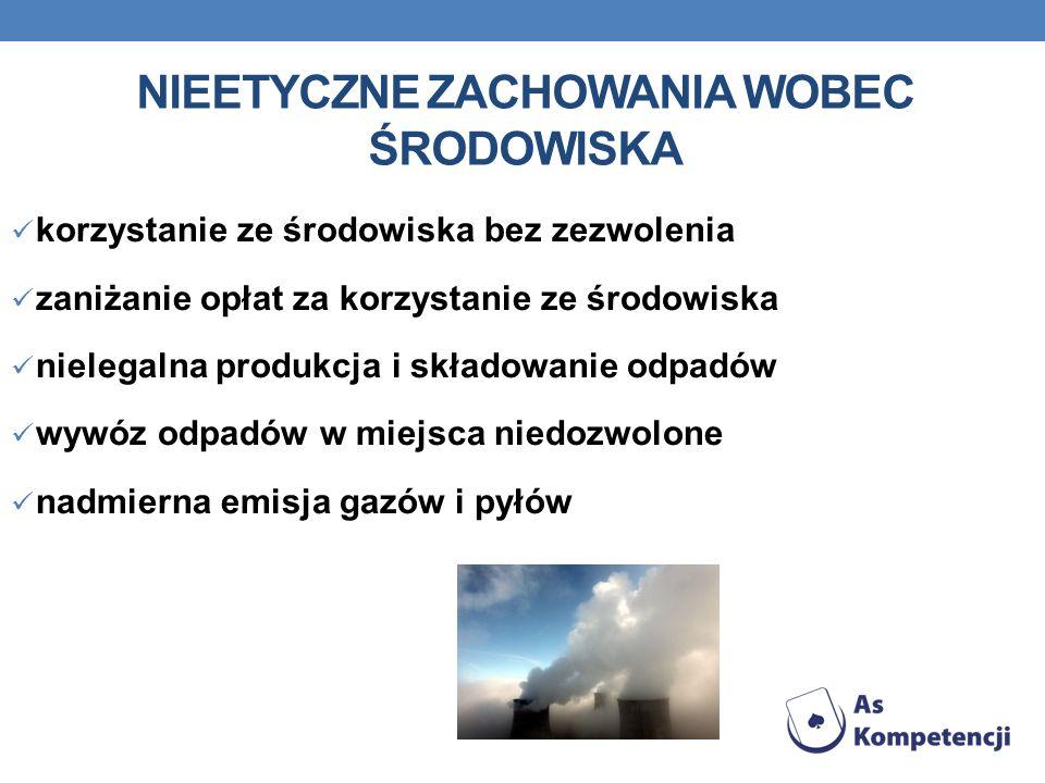 NIEETYCZNE ZACHOWANIA WOBEC ŚRODOWISKA korzystanie ze środowiska bez zezwolenia zaniżanie opłat za korzystanie ze środowiska nielegalna produkcja i sk