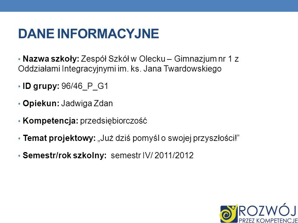 DANE INFORMACYJNE Nazwa szkoły: Zespół Szkół w Olecku – Gimnazjum nr 1 z Oddziałami Integracyjnymi im.