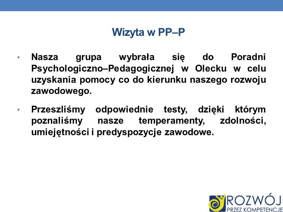 Wizyta w PP–P Nasza grupa wybrała się do Poradni Psychologiczno–Pedagogicznej w Olecku w celu uzyskania pomocy co do kierunku naszego rozwoju zawodowego.