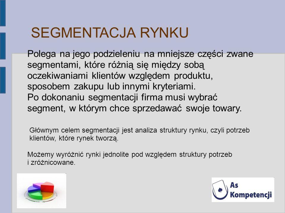 SEGMENTACJA RYNKU Polega na jego podzieleniu na mniejsze części zwane segmentami, które różnią się między sobą oczekiwaniami klientów względem produkt