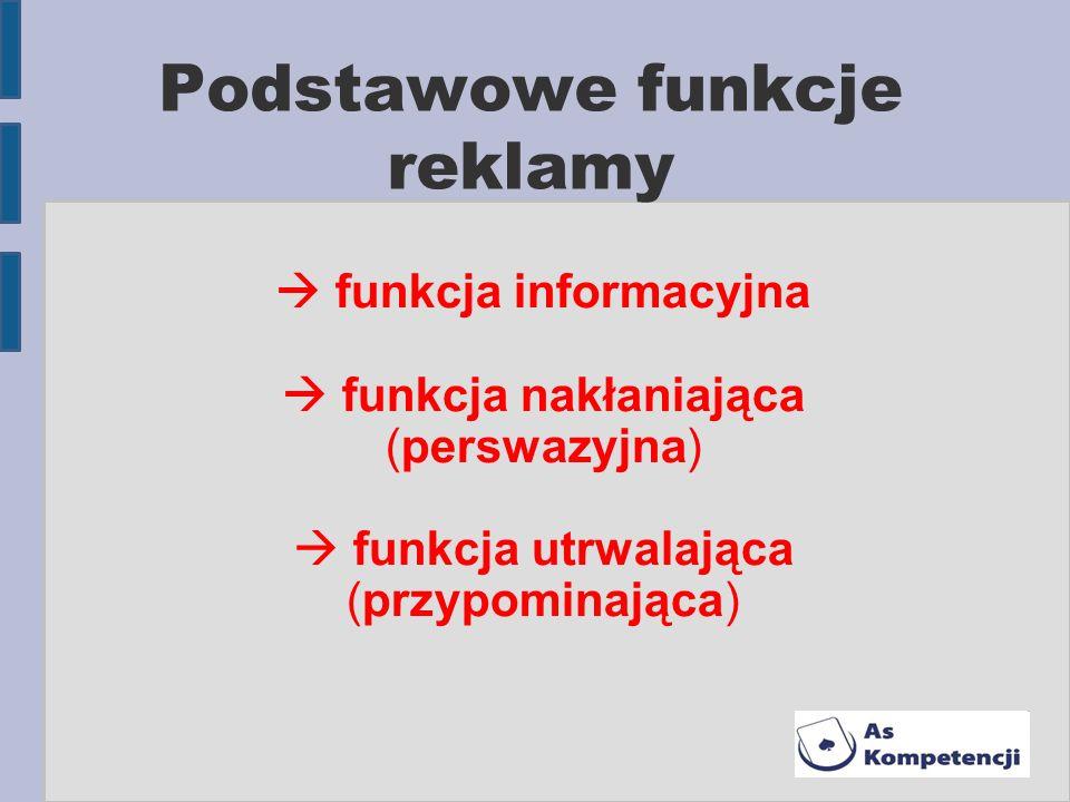 Podstawowe funkcje reklamy funkcja informacyjna funkcja nakłaniająca (perswazyjna) funkcja utrwalająca (przypominająca)