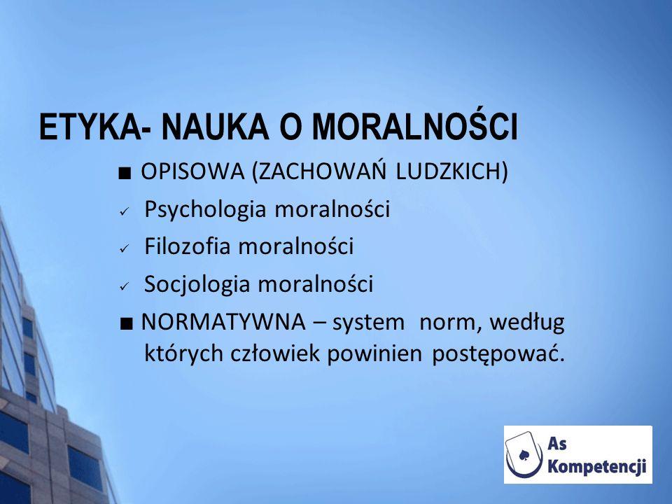 ETYKA- NAUKA O MORALNOŚCI OPISOWA (ZACHOWAŃ LUDZKICH) Psychologia moralności Filozofia moralności Socjologia moralności NORMATYWNA – system norm, wedł