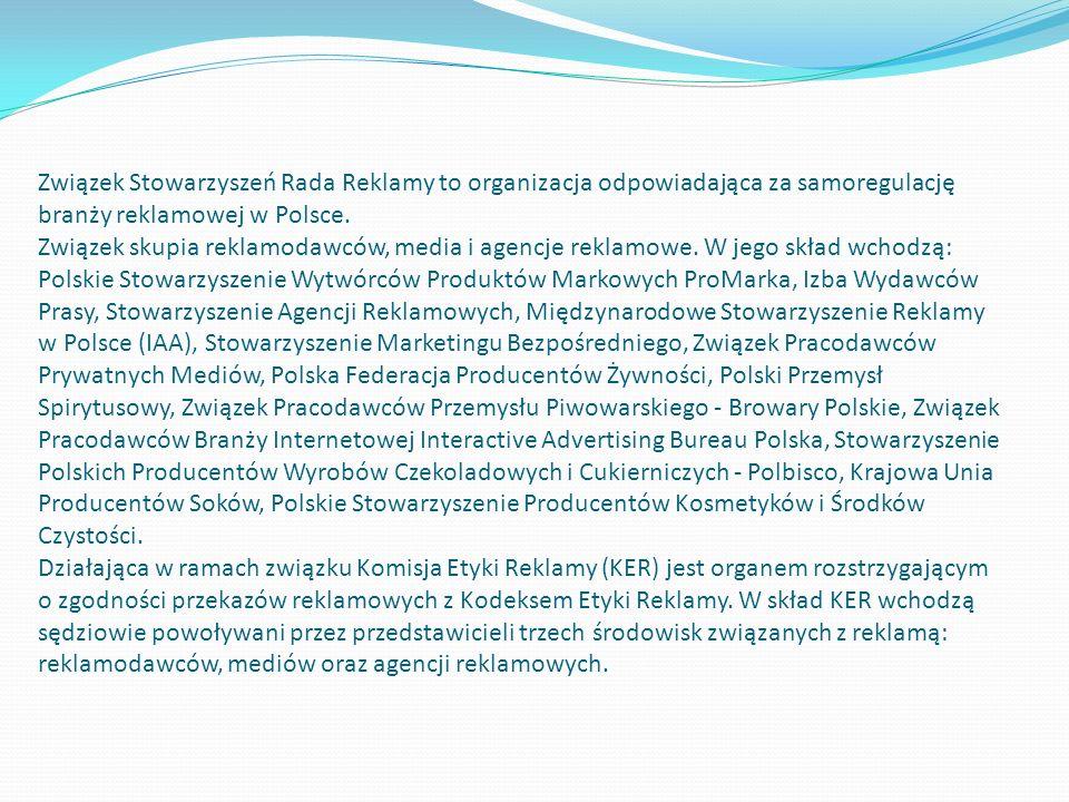 Związek Stowarzyszeń Rada Reklamy to organizacja odpowiadająca za samoregulację branży reklamowej w Polsce. Związek skupia reklamodawców, media i agen