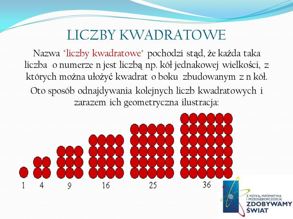 LICZBY KWADRATOWE Nazwa liczby kwadratowe pochodzi st ą d, ż e ka ż da taka liczba o numerze n jest liczb ą np.