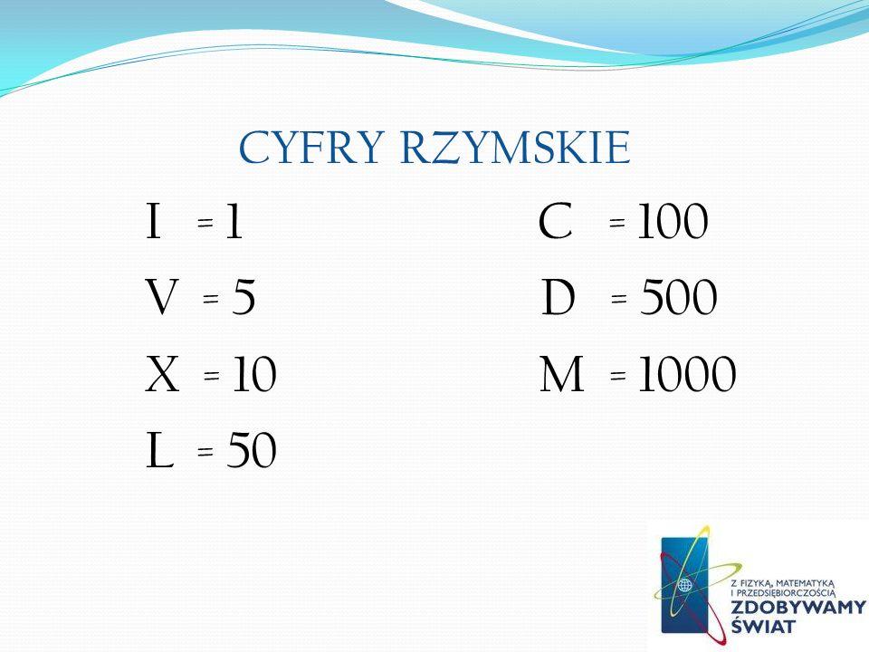 XLV = 45 LXXIX = 79 CCXLVI = 246 CDXCIV = 494 MMM = 3000 Przykładowe liczby zapisane znakami rzymskimi: