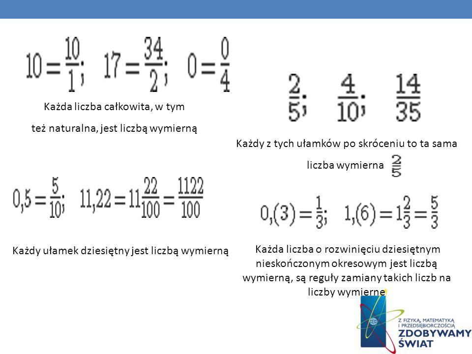 Każda liczba całkowita, w tym też naturalna, jest liczbą wymierną Każdy z tych ułamków po skróceniu to ta sama liczba wymierna Każdy ułamek dziesiętny jest liczbą wymierną Każda liczba o rozwinięciu dziesiętnym nieskończonym okresowym jest liczbą wymierną, są reguły zamiany takich liczb na liczby wymierne