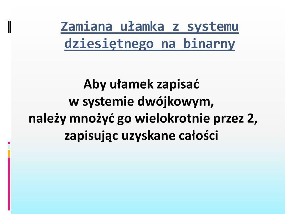 Zamiana ułamka z systemu dziesiętnego na binarny Aby ułamek zapisać w systemie dwójkowym, należy mnożyć go wielokrotnie przez 2, zapisując uzyskane ca