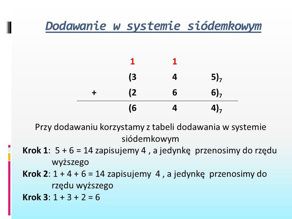 Dodawanie w systemie siódemkowym 11 (345) 7 +(266) 7 (644) 7 Przy dodawaniu korzystamy z tabeli dodawania w systemie siódemkowym Krok 1: 5 + 6 = 14 za