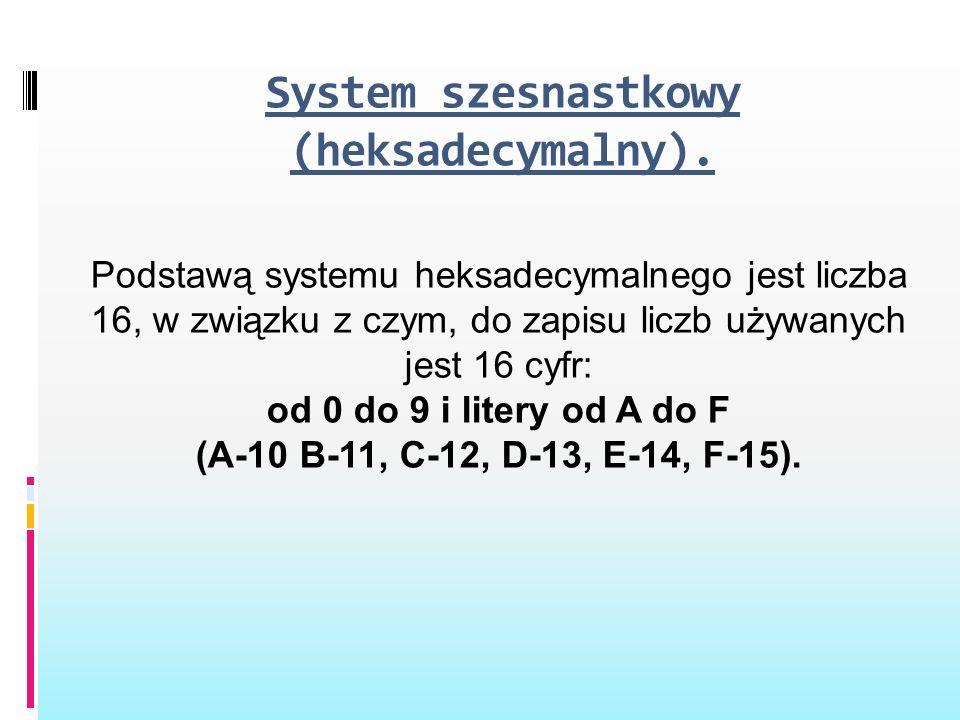 System szesnastkowy (heksadecymalny). Podstawą systemu heksadecymalnego jest liczba 16, w związku z czym, do zapisu liczb używanych jest 16 cyfr: od 0