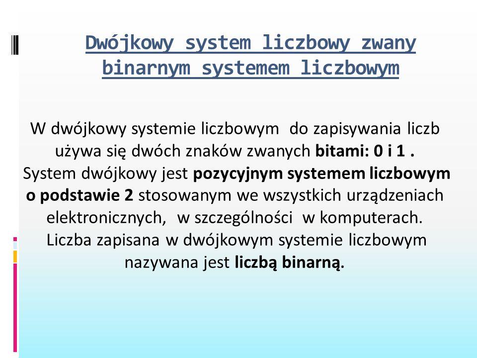 Dwójkowy system liczbowy zwany binarnym systemem liczbowym W dwójkowy systemie liczbowym do zapisywania liczb używa się dwóch znaków zwanych bitami: 0