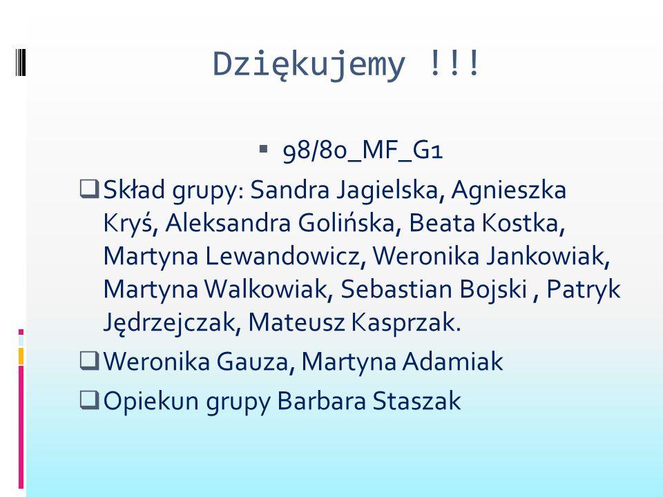 Dziękujemy !!! 98/80_MF_G1 Skład grupy: Sandra Jagielska, Agnieszka Kryś, Aleksandra Golińska, Beata Kostka, Martyna Lewandowicz, Weronika Jankowiak,