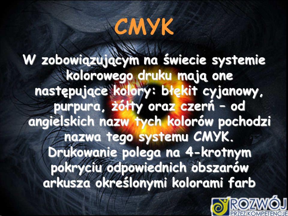 CMYK W zobowiązującym na świecie systemie kolorowego druku mają one następujące kolory: błękit cyjanowy, purpura, żółty oraz czerń – od angielskich nazw tych kolorów pochodzi nazwa tego systemu CMYK.