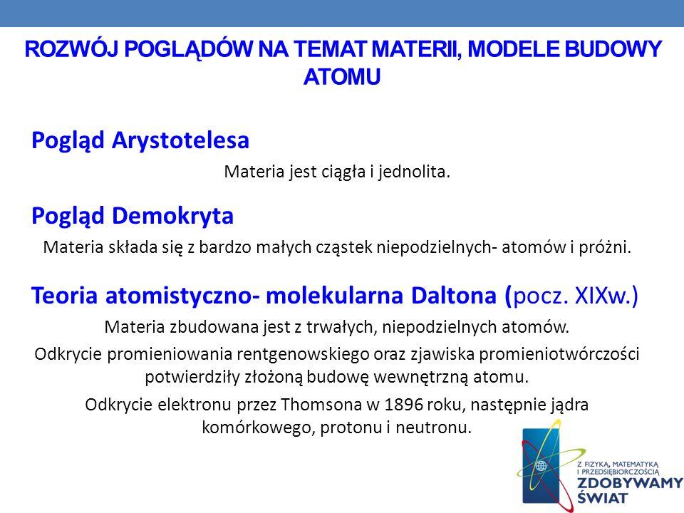 MODELE BUDOWY ATOMU a) Model Thomsona - według niego atom to kula elektryczności dodatniej, w której tylko gdzieniegdzie rozmieszczone były elektrony; model często nazywano też potocznie ciasto z rodzynkami, b) Model planetarny Ernesta Rutherforda - 1911 rok - według niego w atomie znajduje się dodatnio naładowane jądro, w którym skoncentrowana jest prawie cała masa atomu, natomiast dookoła jądra po odpowiednich torach krążą elektrony.