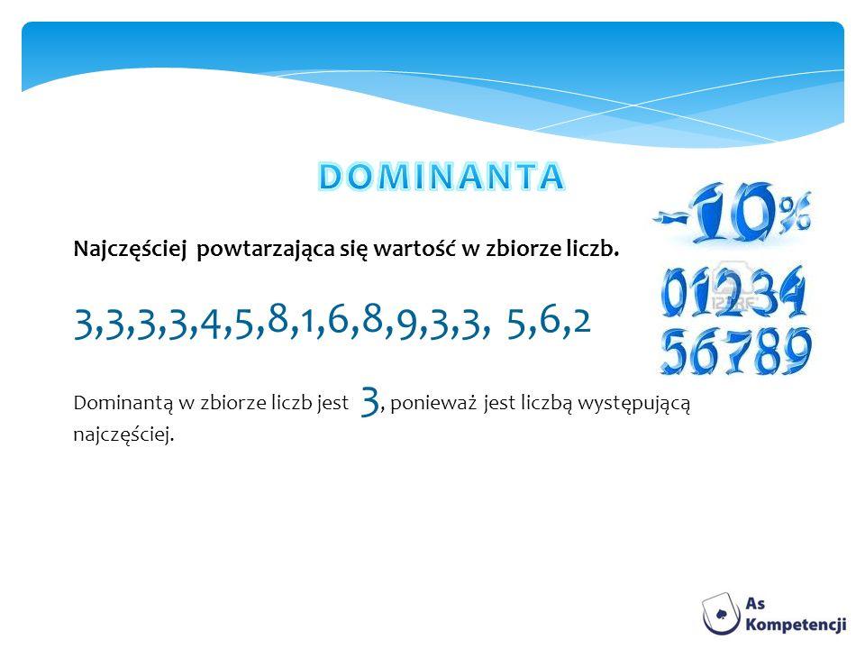 Najczęściej powtarzająca się wartość w zbiorze liczb. 3,3,3,3,4,5,8,1,6,8,9,3,3, 5,6,2 Dominantą w zbiorze liczb jest 3, ponieważ jest liczbą występuj